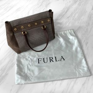 Furla Suede and Snakeskin Bag